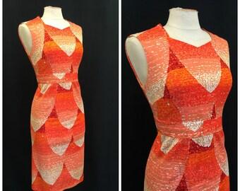 Vintage 1970's Dress 70's Orange White Gold Petal Geometric Novelty Sleeveless Dress Hand Finished Shang-Yi Bust 34 36 Size S M Small Medium