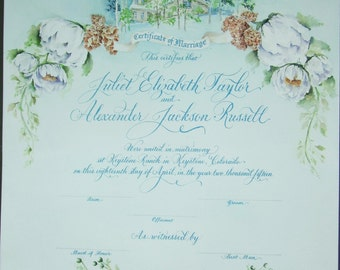 Marriage Certificate with custom art & calligraphy to match your wedding theme.