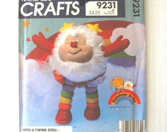 1980s Stuffed Doll Pattern McCalls 9231, McCalls 742, 13 inch Doll, Rainbow Brite Twink Stuffed Toy Sewing Pattern, UNCUT