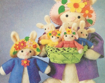 90s  Plush Felt Easter Bunnies 20 Inch Mother, 11 Inch Girl Bunny and Baby Bunny McCalls Crafts Pattern 2064 UnCut Joanne Beretta