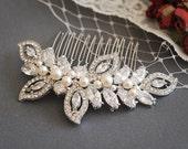 Bridal Hair Comb, Swarovski Wedding Hair Comb, Crystal Bridal Hairpiece, Pearl Wedding Headpiece, CZ Rhinestone Hair Clip, AUGUSTINA