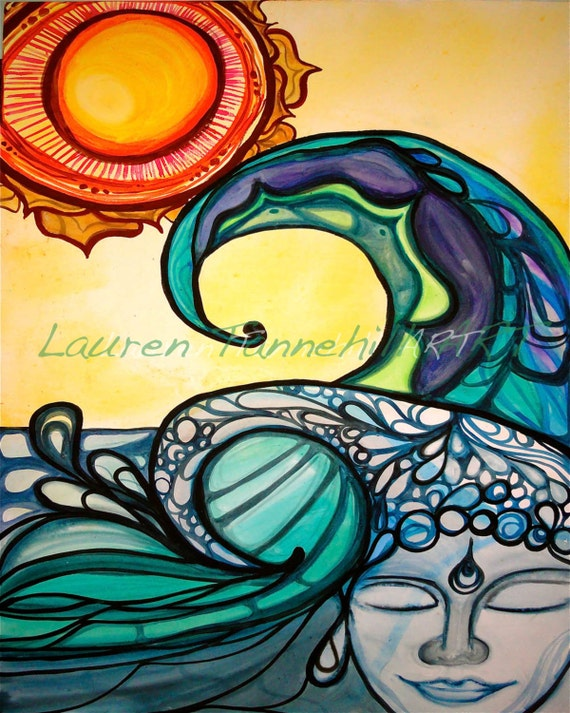 8x10 Giclee Print of Zen Buddha Sidhartha Face in Waves with Lotus Sun Enlightened Surf Art by Lauren Tannehill ART