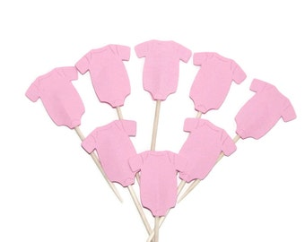 24 Baby Girl Pink Onesie Cupcake Toppers, Party Picks