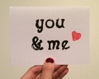 You and Me Linocut Card