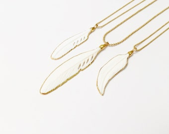 Feather Pendant Necklaces, Bone Feather Pendant Necklace, Gold Feather Pendant Necklaces