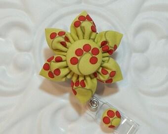 Retractable Badge Holder - ID Badge Reel -  Flower Id Badge Reel - Green And Red
