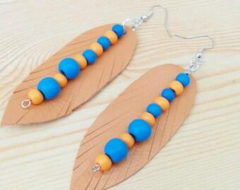 Leather earrings, dangle earrings,orange earrings,beaded earrings,long earrings,blue earrings,leather jewelry,feather earrings,drop earrings