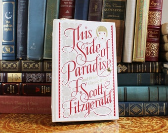 Book Clutch Purse- This Side of Paradise by F. Scott Fitzgerald- Vintage Evening Bag- White, Red, Gold--  Convertible Handle- Great Gatsby