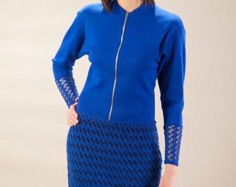 Deep blue dress, see through dress, zippered dress, original design dress, lace dress, short dress, unique dress,blue jersey dress