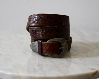 Belt Leather Brown Silver Metal - Women's XS Small - 1970s Vintage