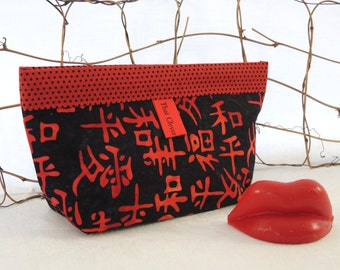 Makeup Bag, Purse Accessory, Notions Pouch: Red & Black Cosmetics Clutch Organizer