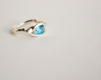 Blue Topaz Sterling Silver Organic Ring