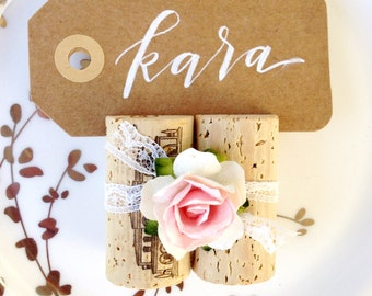 Wine Cork Place Card Holders in Blush & White, Winery Weddings