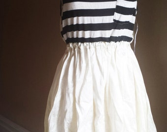 Party Dress - Stripes and White Lace - Tres Chic