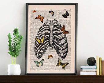 Summer Sale Butterfly collage Upcycled Dictionary Page, Upcycled Book Art Print,Book Print Butterflies in rib cage- SKA068
