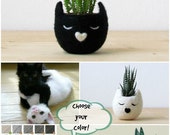 Small succulent pot / Cat head planter / Black cat / Felt succulent planter / cat lover gift - Choose your color!