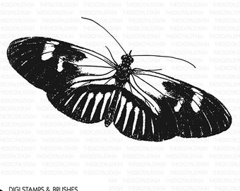 BUTTERFLY 4 Clip Art - Digital Stamp and Brush - INSTANT DOWNLOAD - for Invites, Scrapbooking, Journaling, Collage, Cards, Crafts and More