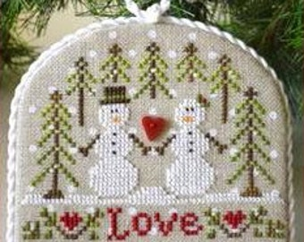 cross stitch patterns : Snow Love Country Cottage Ornaments Needleworks Christmas December hand embroidery