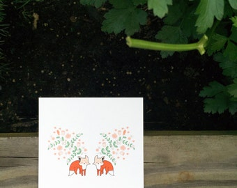 Foxes Under Floral 4 x 4 print