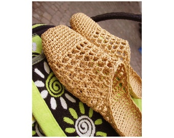 Raffia Slip-In Slippers Crochet Sandal pattern - Instant Download