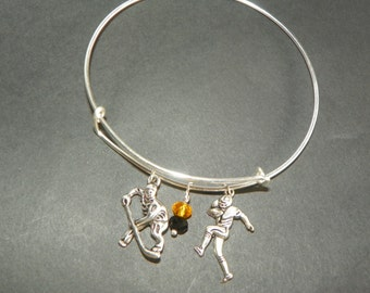 Sport Bracelet stackable bracelet Steeler Penguin bracelet hockey bracelet football bracelet silver bracelet charm bracelet adjustable brac