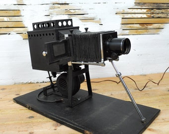 Fabulous 1900s Slide Projector with Box of Photo Glass Slides from 1911 & Case -- Please Convo Us for A Shipping Quote
