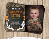 Camo Boy Hunting deer Photo Invitation #6 Birthday Party  PRINTABLE Invitation 5x7  camouflage orange realtree chalkboard