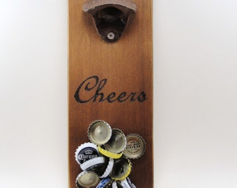 wall mount bottle opener cast iron magnet cap catcher cheers cedar