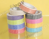 SALE  - 10 Rolls of Gingham Plaid Masking Fabric Cotton Deco Tape, Deco Tape , Crafts DIY Decoration, 15mm (C1-26)