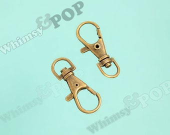 20 - Swivel Lobster Clasp, Parrot Clasp, Snap Hook, Antique Bronze Lobster Clasp, 35mm x 13mm, Hole: 15mm (R4-144)