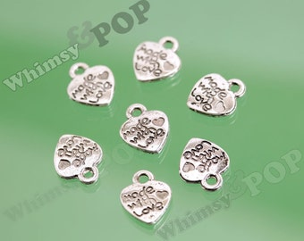 Tibetan Silver Made With LOVE Heart Tag Charms, Made With Love Charms, 12mm x 10mm (R4-143)