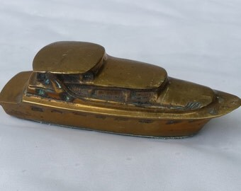 Brass Patina Ship Office Paperweight