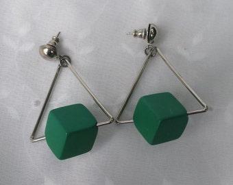 Green Geometric Square Triangle Earrings