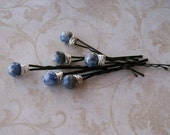 Blue Sodalite Gemstone Hair Pins - Set of Six Wire Wrapped Hair Pins