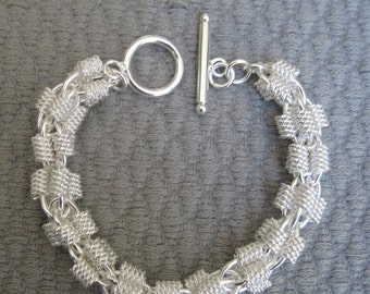 "Silver Textured Four Strand Chain with Coiled Wire Components 7-1/2"" Chain Bracelet"
