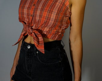 Plaid Crop Tie Top S M Red Boho Hippie Prairie Gypsy Club Kid Grunge 90s Twin Peaks Bohemian Hipster Collared Tank Mod Folk Festival Blouse