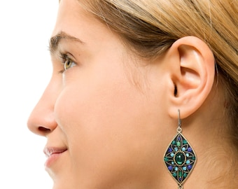 Michal Golan Emerald Blue Large Diamond Dangle Earrings
