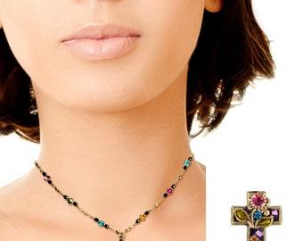 Colorful Enamel Cross w/ Floral Motif Necklace Graduation Gift