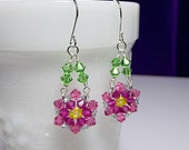 Fuchsia Pink Yellow Green Crystal Chandelier Earrings, Valentines Mothers Day Christmas Mom Sister Bridesmaid Girlfriend Jewelry Gift