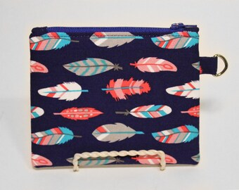 Blue Feathers Small Zipper Pouch