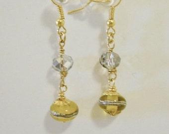 Dangle Earrings -handmade lamp work green beads and crystal rondelle beads