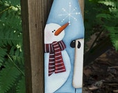 Snowman and sheep ornament, Christmas ornament, hand painted wood ornament, country Christmas, snowman decor, CIJ