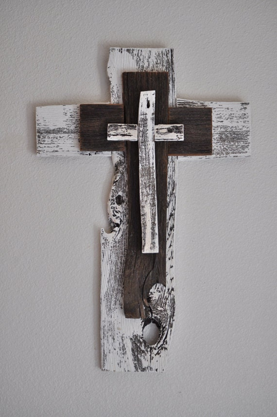 Rustic Unique Turquoise Cross One Of A Kind Reclaimed Wood