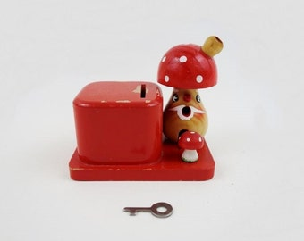 Vintage Toadstool Money Bank