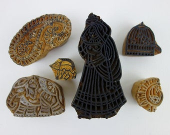Instant Collection 6 Vintage Indian Hand Carved Wood Block Stamps