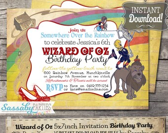 Wizard of Oz Birthday Invitation - INSTANT DOWNLOAD - Partially Editable & Printable Over the Rainbow, Ruby Slippers Birthday Party Invite