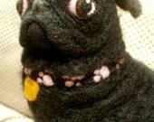 Black Pug Dog Needle Felted OOaK Soft Sculpture Artist Felted Pet Portrait Bella