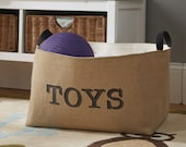Burlap TOYS storage bin .... X-Large burlap storage basket for children