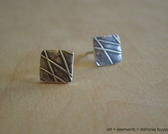 Beach Grass Stud Square Earrings Original Sterling Silver