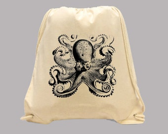 Cool Vintage Octopus Illustration Simple Canvas BACKPACK  -- Image in ANY COLOR